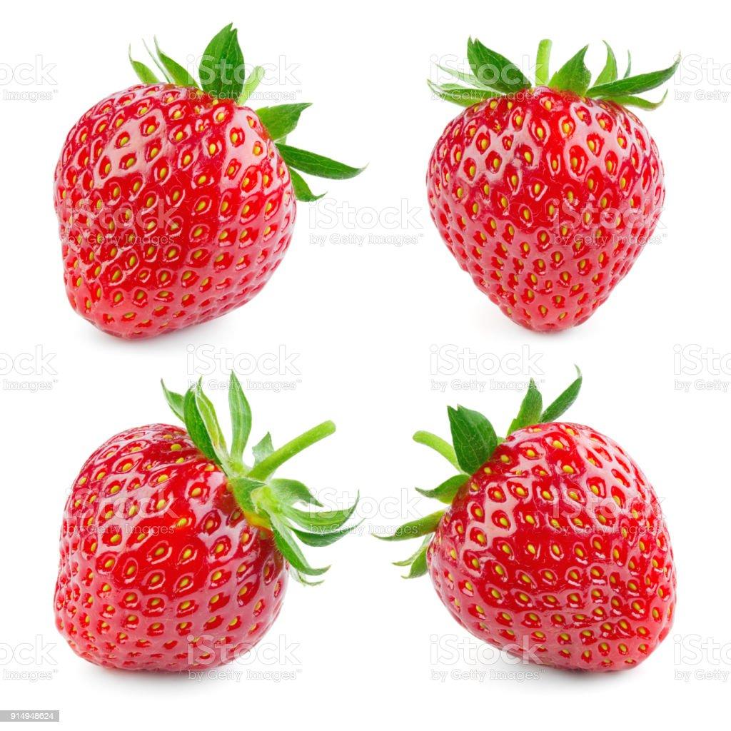 Erdbeere. Erdbeere, isoliert auf weißem Hintergrund. Kollektion. – Foto