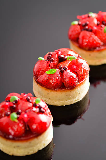 Strawberry Tart with Black Pepper Crust stock photo