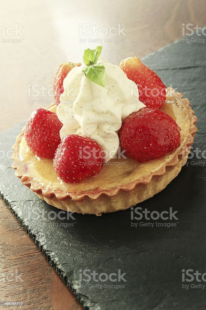 strawberry tart with ice cream stock photo