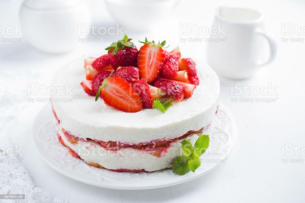 strawberry tiramisu cake on white background, stock photo