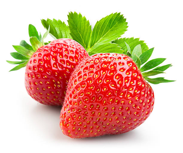 strawberry. two berries with leaves isolated on white background. - strawberry imagens e fotografias de stock