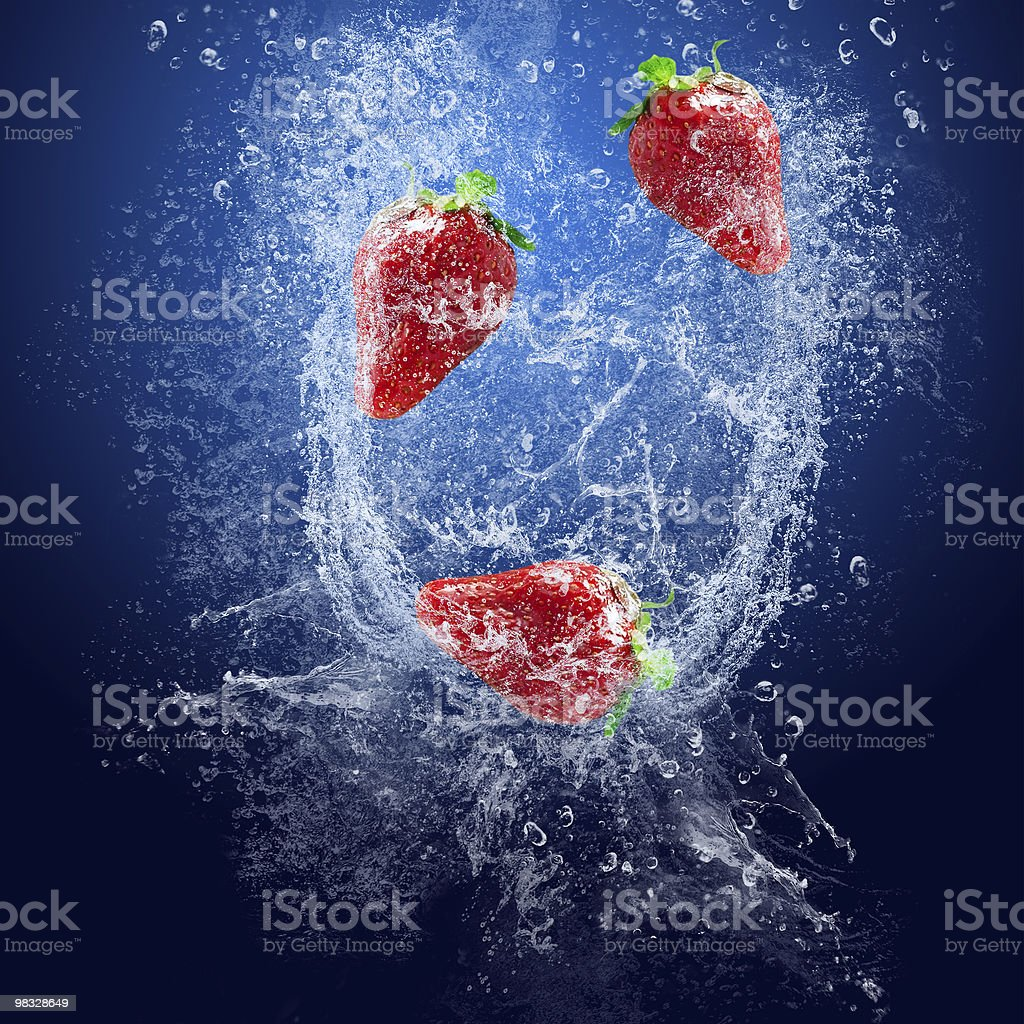 Strawberry under water royalty-free stock photo