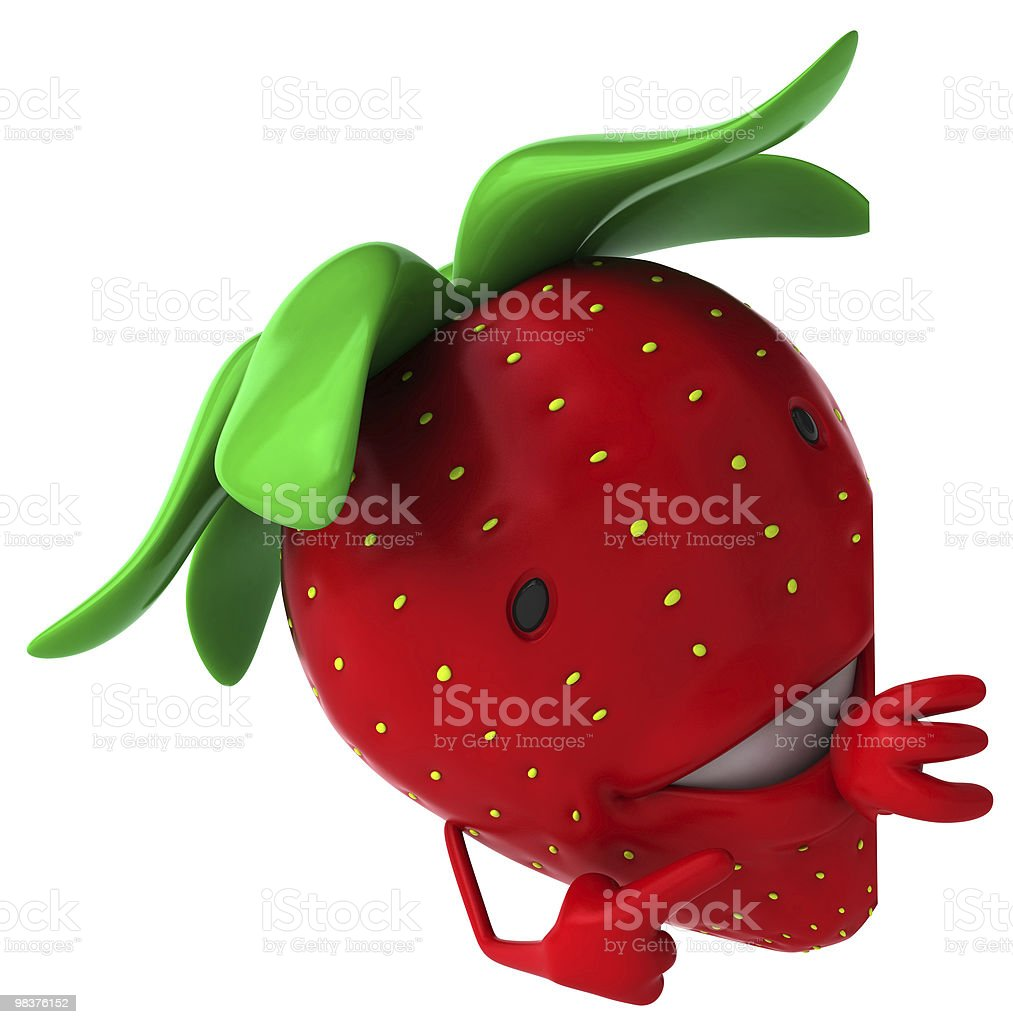 Strawberry with a blank sign royalty-free stock photo