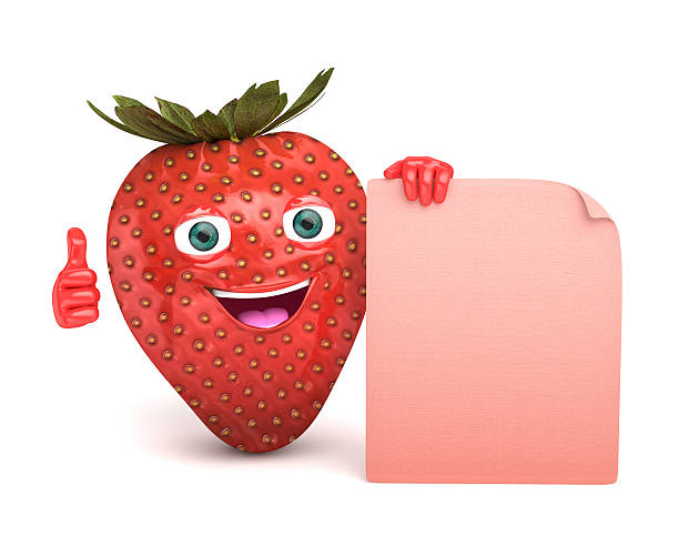 strawberry with a sgin stock photo