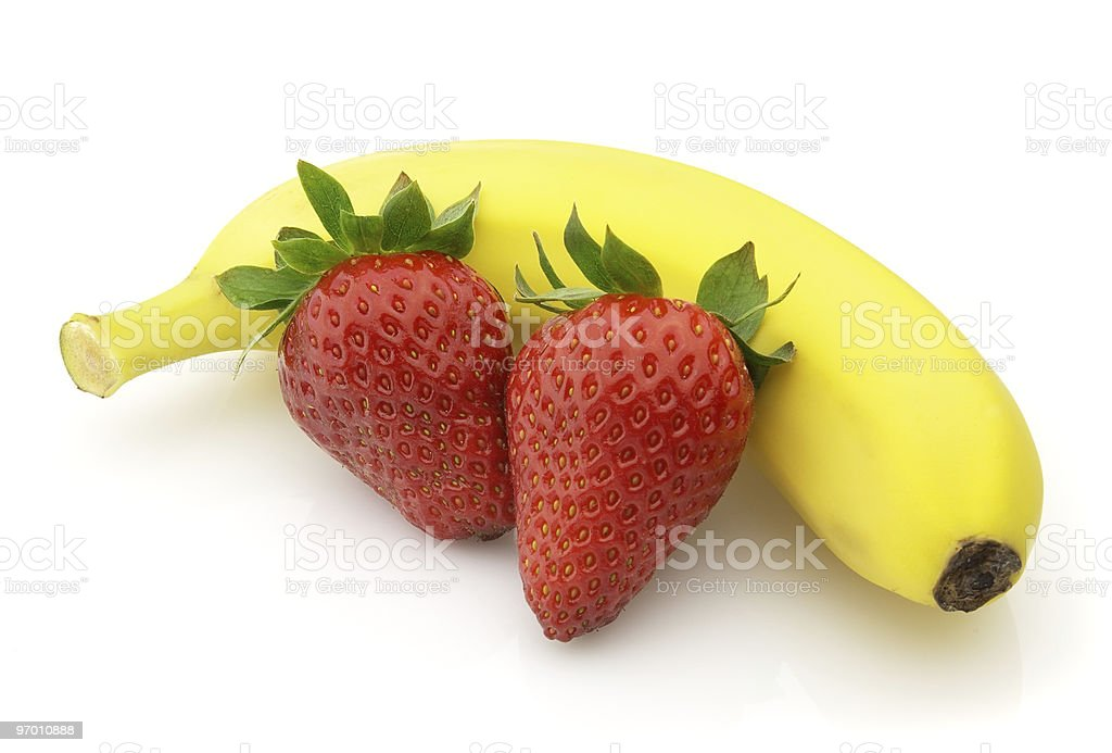 Strawberry with banana royalty-free stock photo