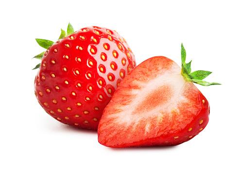 Fresh strawberry close-up isolated on white background