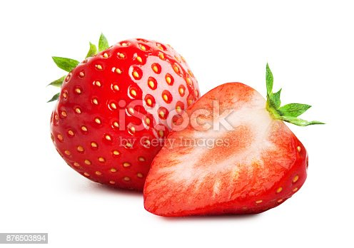Fresh strawberry close-up isolated on white background