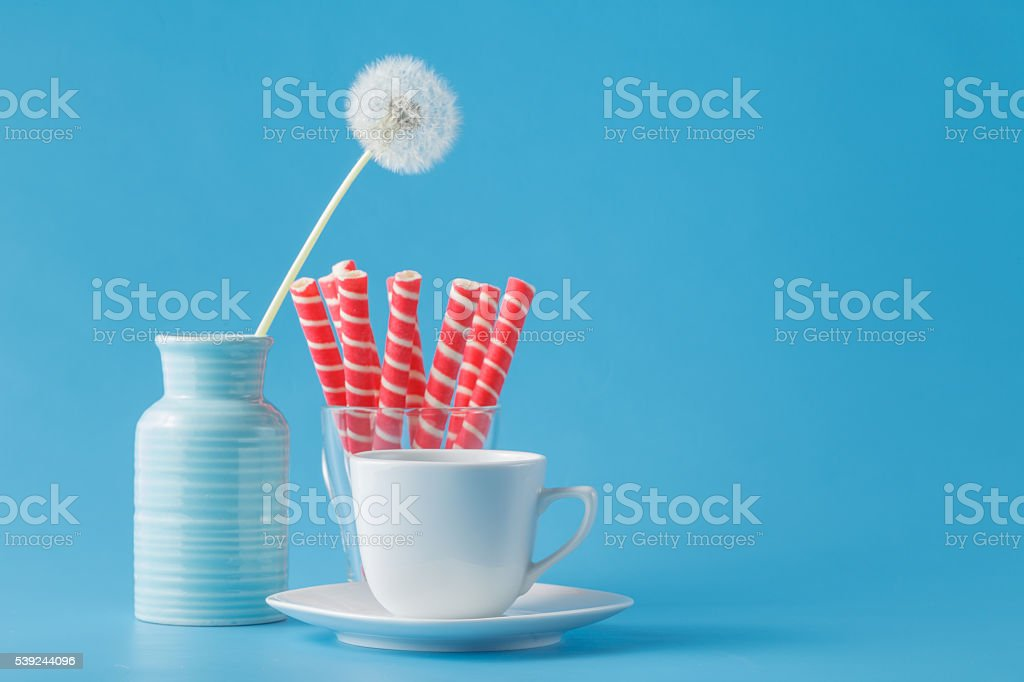 Strawbety cream sticks in glass royalty-free stock photo