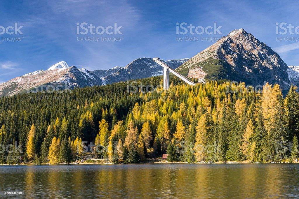 Strbske pleso in Autumn, Slovakia stock photo