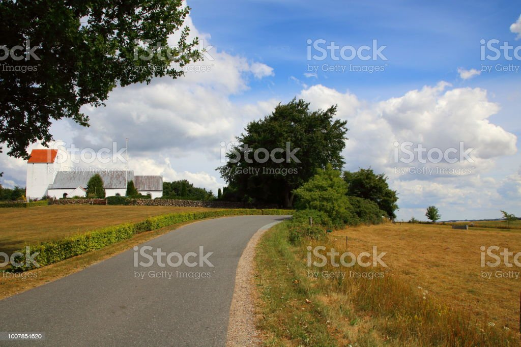 Østre Nykirke church on Hærvejen the army road pilgrim route stock photo