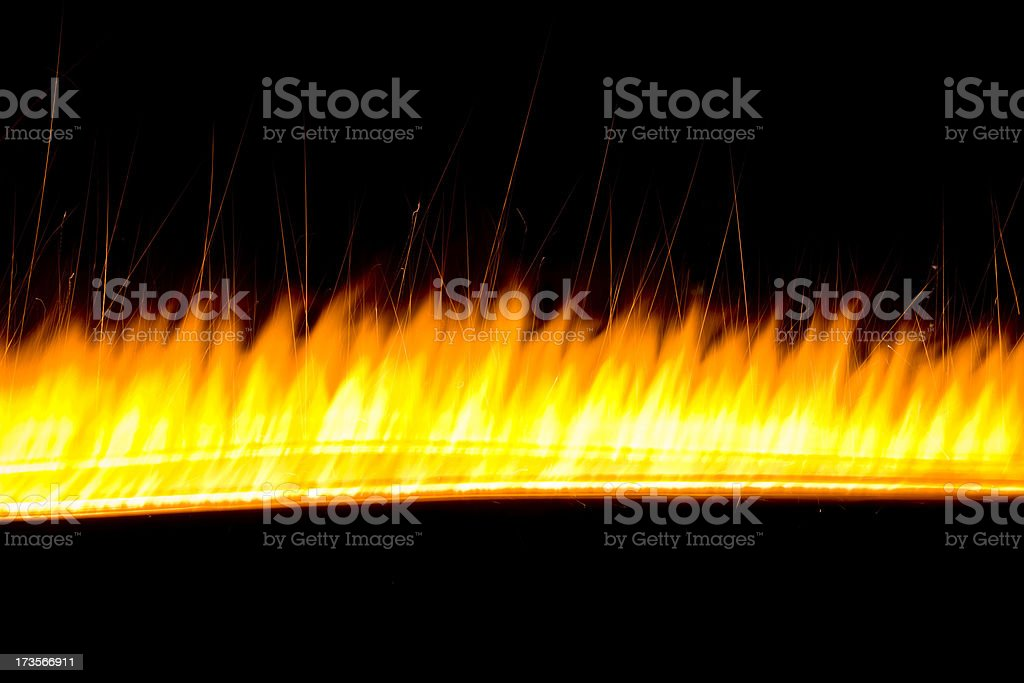 streak of orange flame stock photo