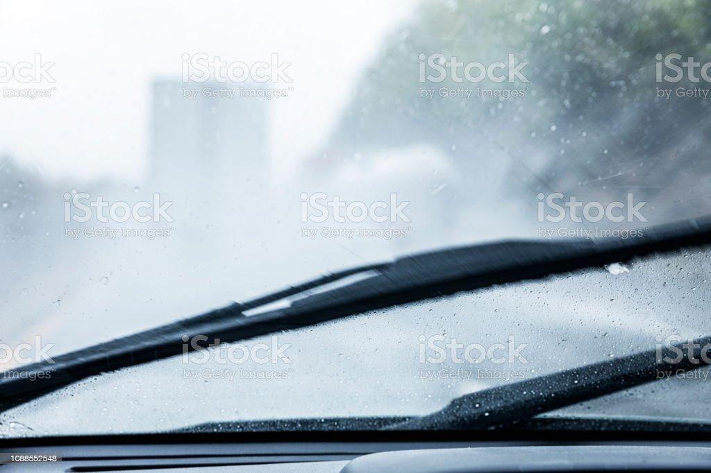 Streaking Blurred Rain Storm Windshield Wipers Stock Photo