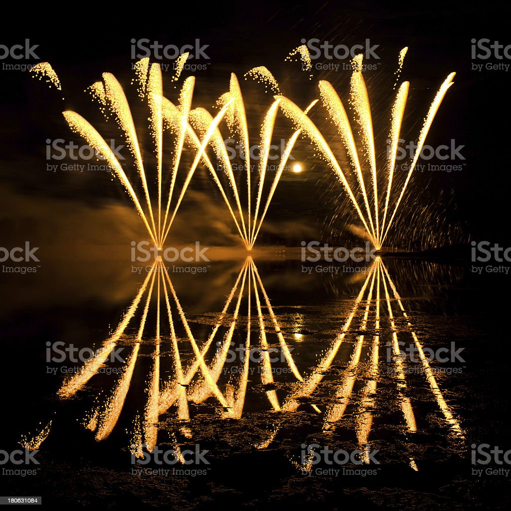 Streaks of Golden Fireworks royalty-free stock photo
