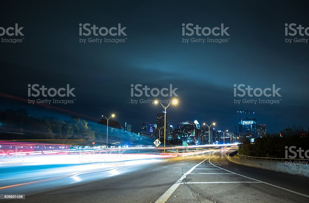 Streaks of Light at Austin City Limits stock photo