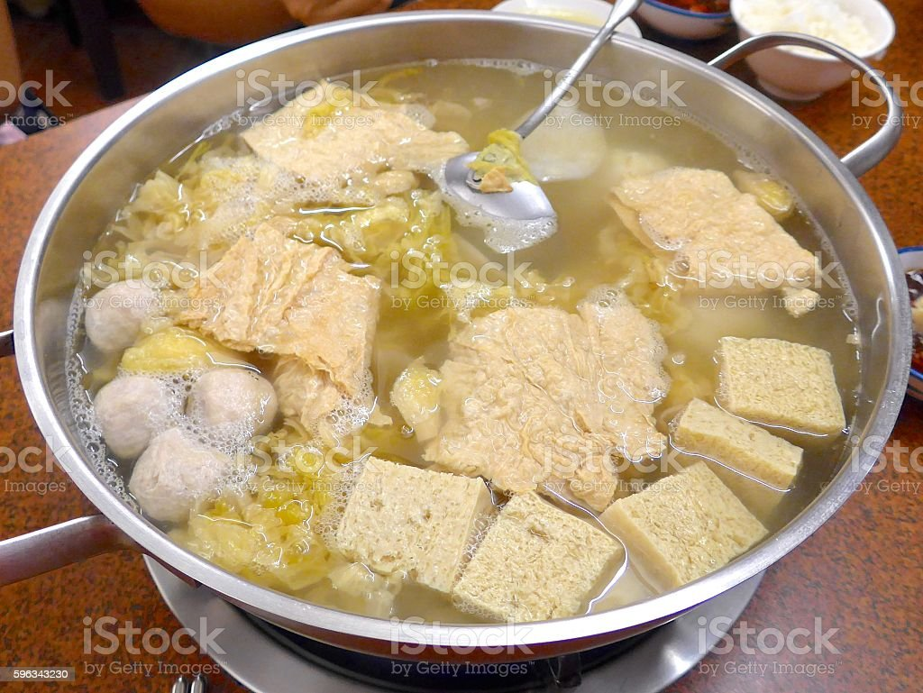 Streaky pork with pickled cabbage and meat balls hot pot royalty-free stock photo