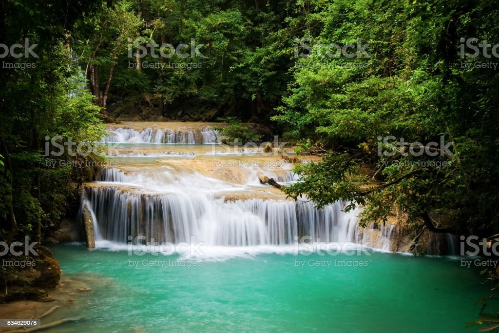 Stream and Waterfall in Tropical Forest stock photo