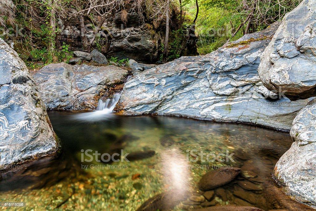 Stream between rocks in Montseny national park, Spain stock photo
