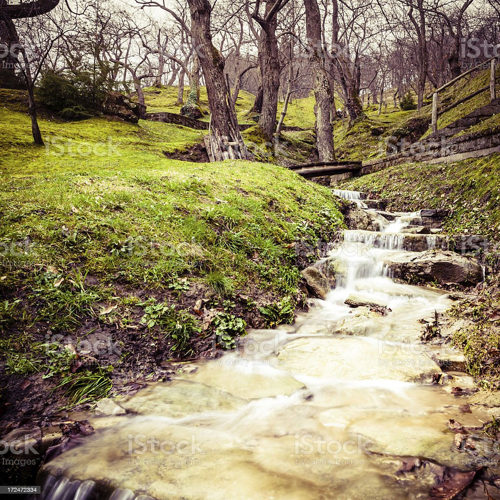 Stream during Winter, Long Exposure in Chestnuts Area royalty-free stock photo