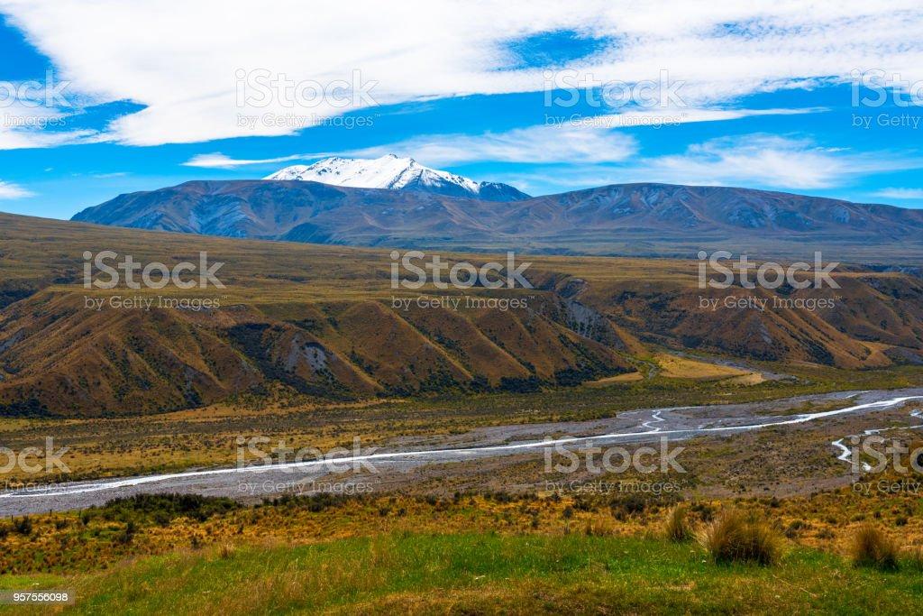 A Stream Flow through a Long Valley stock photo