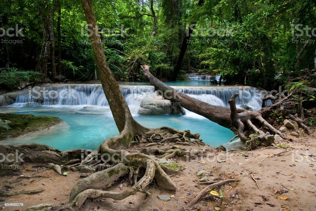 Stream in Erawan National Park in Thailand stock photo