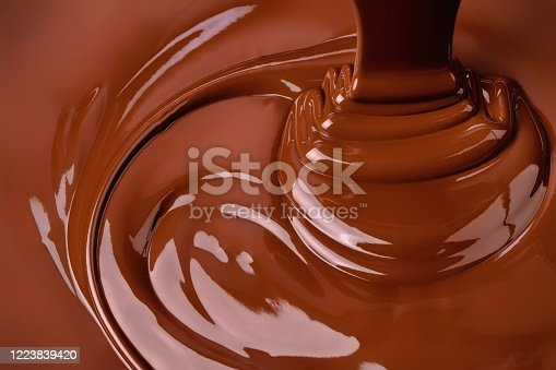 splash of melted chocolate. sweet cocoa dessert, dark chocolate background