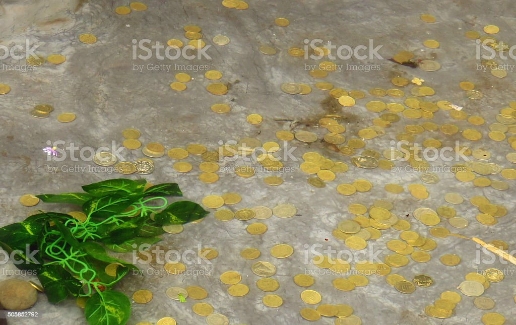 Stream of coins stock photo