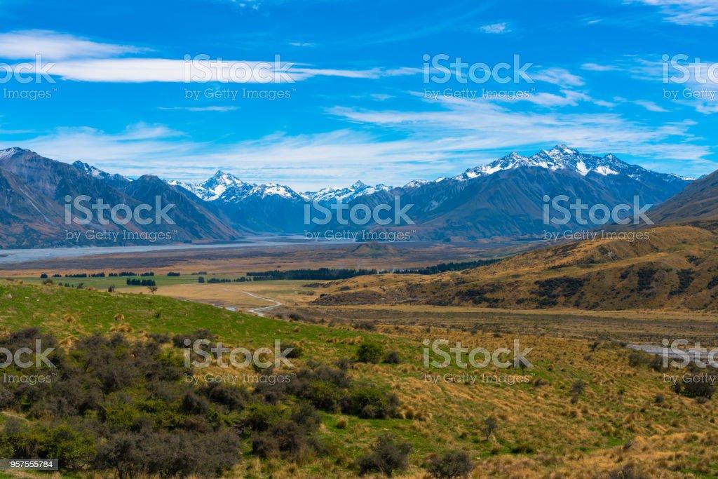 Stream, PLains and Mountains stock photo