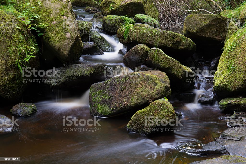 Stream running through a gorge. stock photo