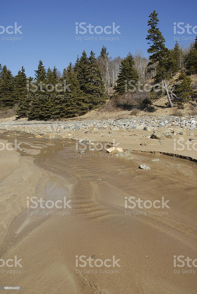 Stream sweeps across a sandy beach in Maine royalty-free stock photo