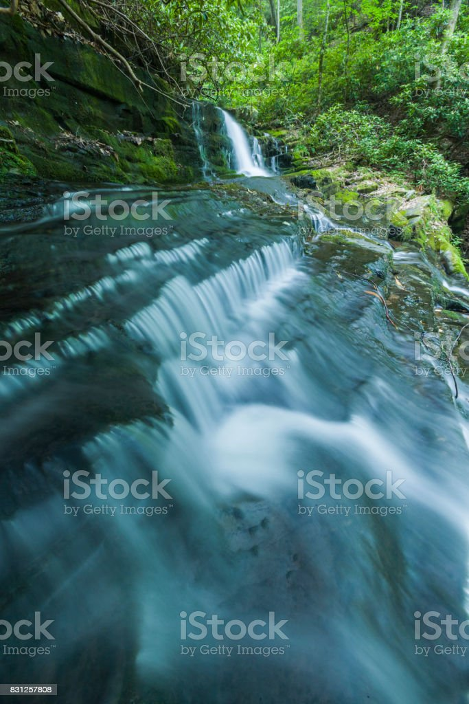 Stream & Waterfalls, Greenbrier, Great Smoky Mountains stock photo