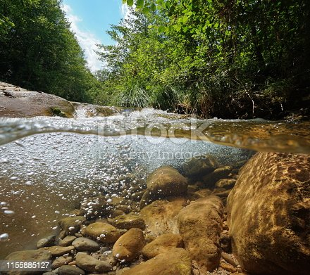 Stream with vegetation and rocks with air bubbles underwater, split view above and below water surface, La Muga, Girona, Alt Emporda, Catalonia, Spain