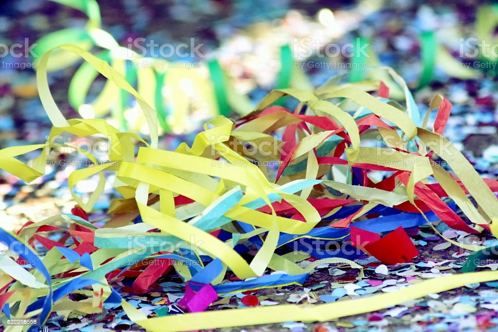 Streamers and confetti stock photo
