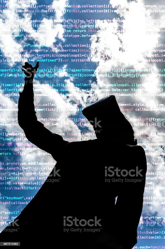 Streaming codes in augmented virutual reality space stock photo