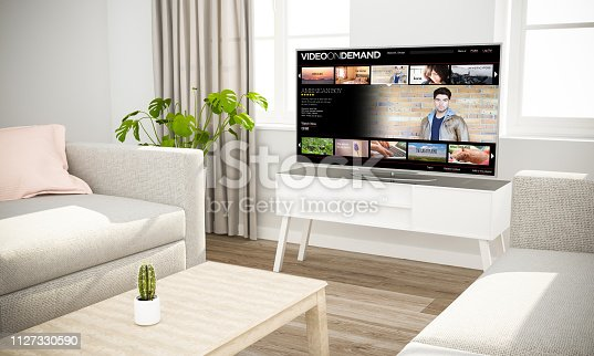 istock streaming movies television sofa in scandinavian living room 1127330590