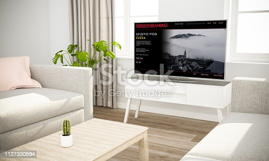 istock streaming series television sofa in scandinavian living room 1127330594