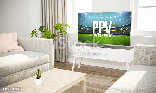 istock streaming sports event television sofa in scandinavian living room 1127330589