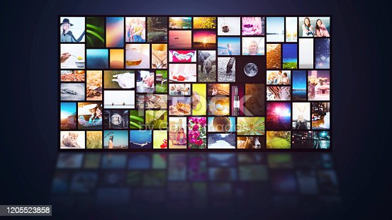1029147344 istock photo Streaming TV internet service multiple channels screen background 1205523858