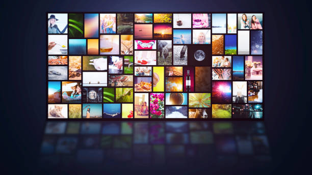 streaming tv internet-service mehrere kanäle bildschirmhintergrund - film oder fernsehvorführung stock-fotos und bilder
