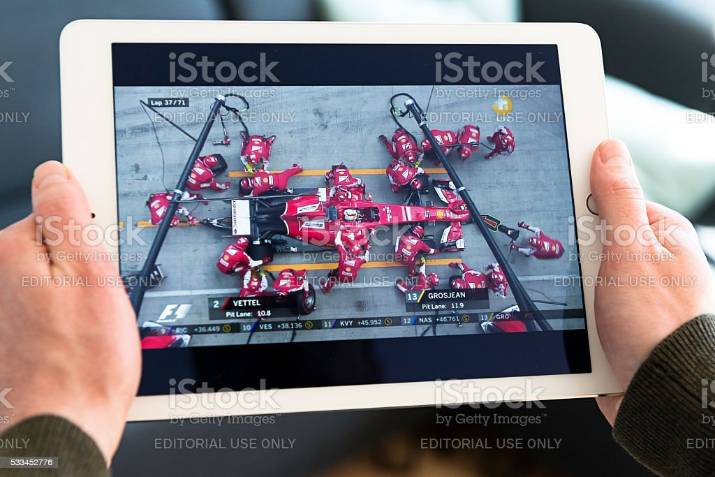 Streaming video of pitstop performed by the Ferrari F1 team stock photo