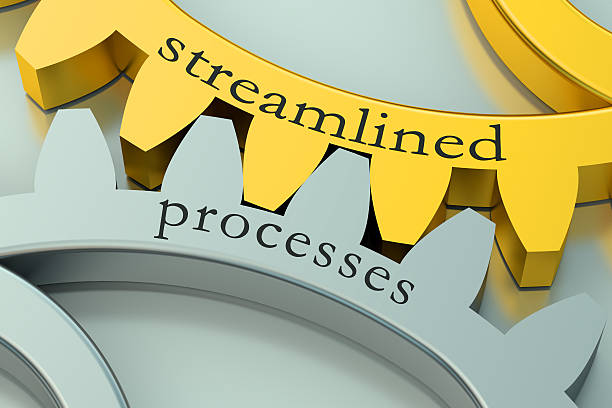 streamlined processes concept on the gearwheels streamlined processes concept on the gearwheels aerodynamic stock pictures, royalty-free photos & images