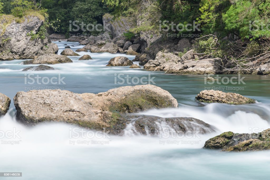 streams inside the Adda River stock photo