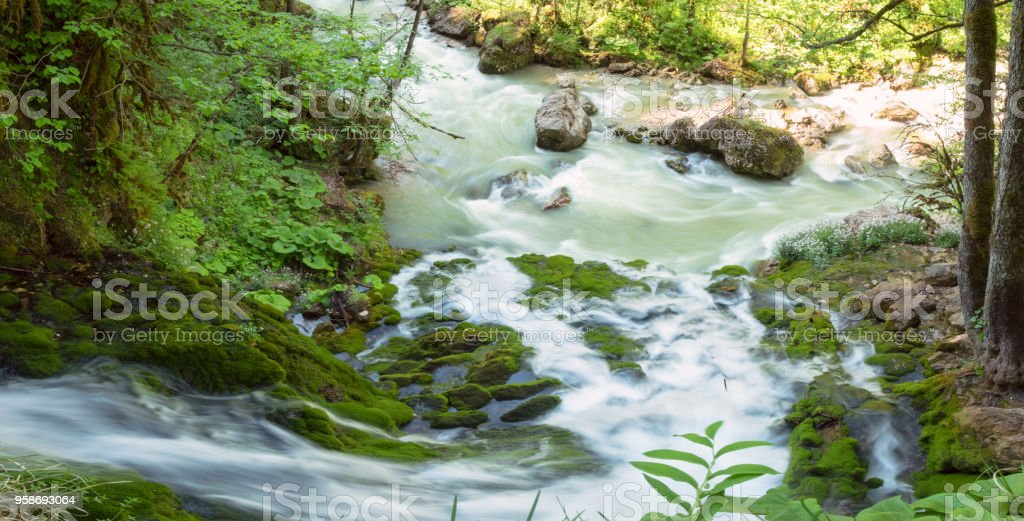 streams of clean water, Isichenko waterfall in Mezmay, Adygea stock photo