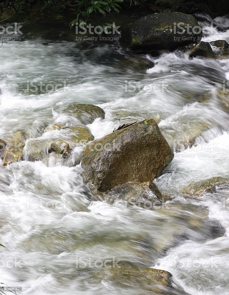 Streams of water from waterfall stock photo