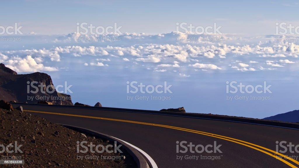 Street above the clouds, Haleakala, Maui, Hawaii stock photo