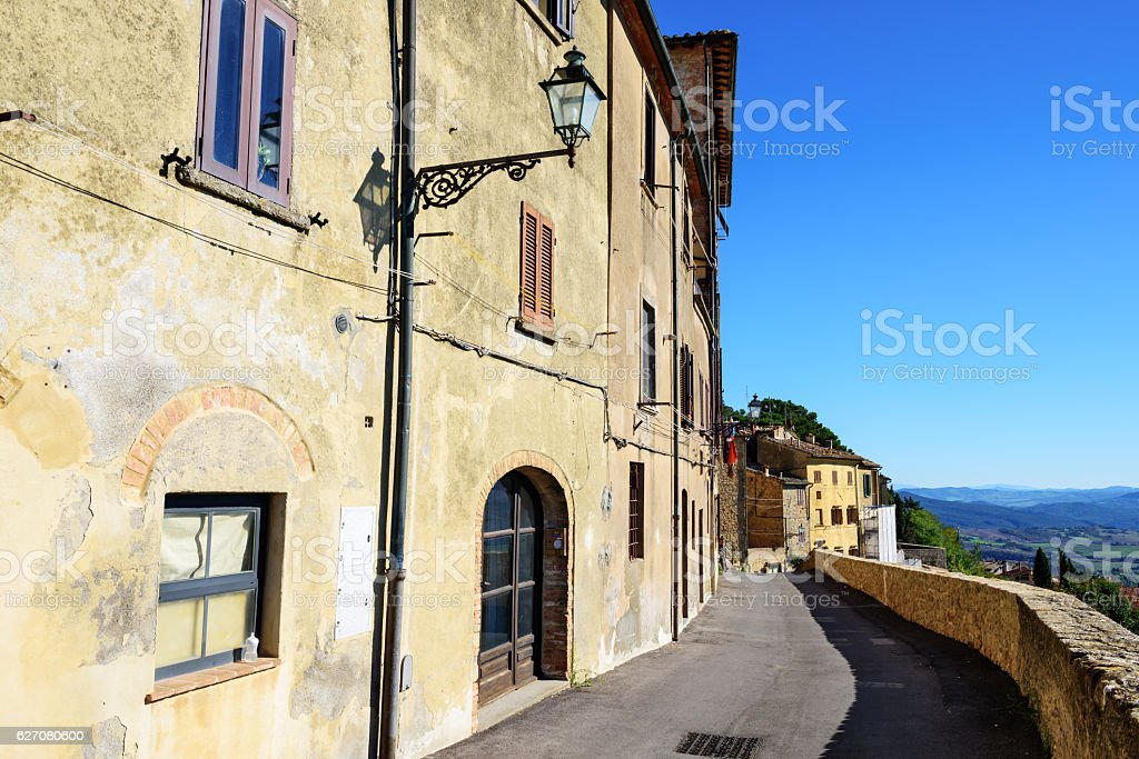 Street above the walls of Volterra, Tuscany, Italy stock photo