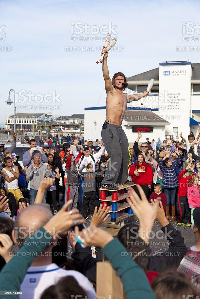 Street Acrobat at Fishermans Wharf royalty-free stock photo