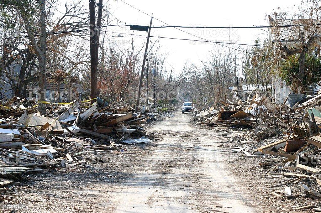 Street After Hurricane Katrina stock photo