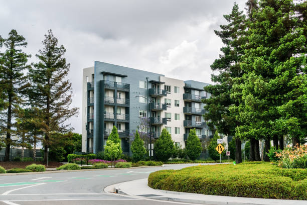 Street and apartment building surrounded by redwood trees; overcast day; San Jose, San Francisco bay area, California stock photo