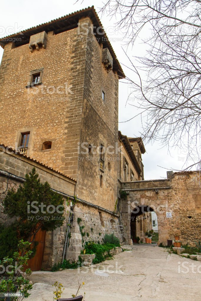 Street and architecture in Valdemossa, Mallorca side view. Spain stock photo