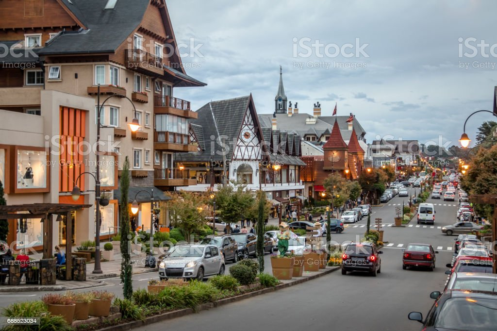 Street and architecture of Gramado city - Gramado, Rio Grande do Sul, Brazil stock photo